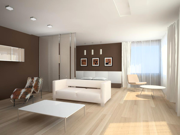 Минимум меблировки и декоративных элементов визуально увеличивает гостиную.