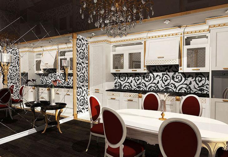 Дизайнерский проект для небольшой кухни интересен зеркальной стеной, которая составлена из одинаковых квадратных элементов.