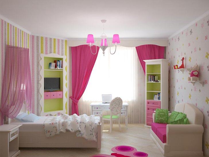 Комната юной принцессы оформлена в классических девчачьих цветах. Акценты ярко-розового делают интерьер ярким и красочным.
