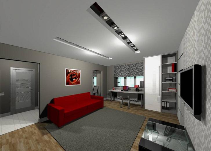 Дизайнерский проект гостевой комнаты в стиле техно.