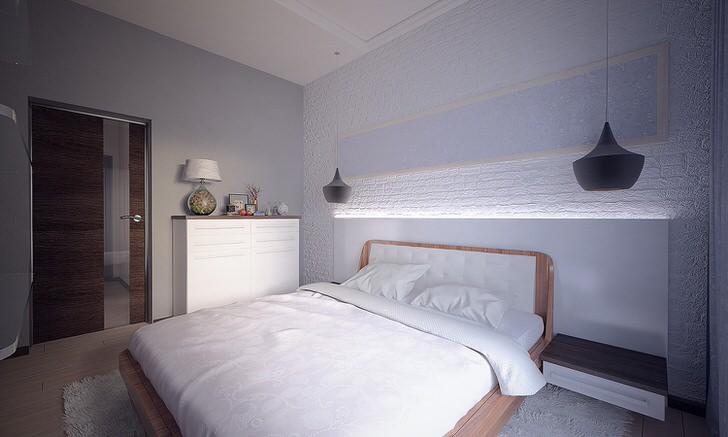В спальне в скандинавском стиле должно быть достаточное количество дневного света. Именно дневного, солнечного света, поэтому искусственное освещение сокращено до минимума.