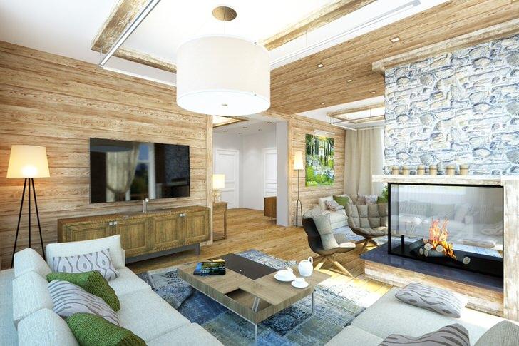 Стильный интерьер гостиной в стиле шале оформлен в соответствии со всеми требованиями.