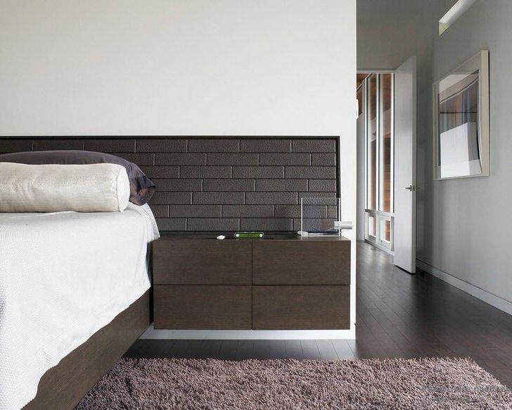 Спальня венге в стиле минимализм. Кровать венге и прикроватные тумбы представляют собой единую конструкцию.