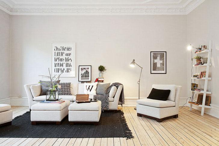 Скандинавский стиль в интерьере привлекает своей простотой и сдержанностью. Спокойные, мягкие тона отлично подходят для обустройства гостиной.