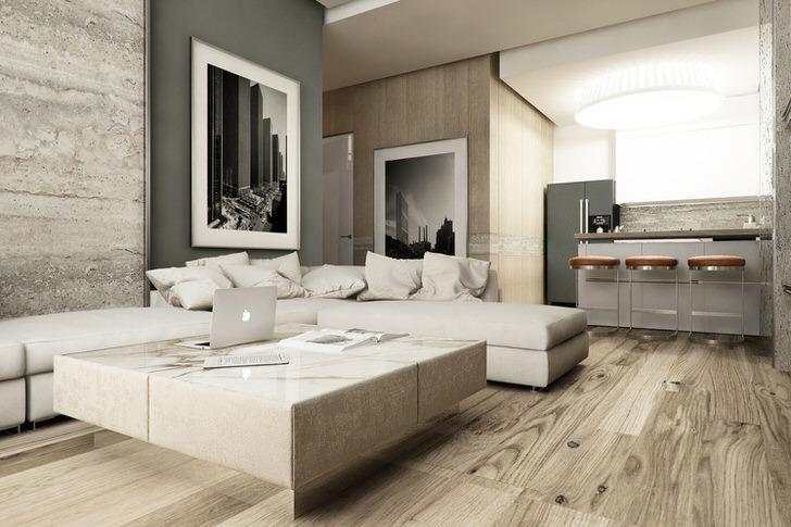 Сдержанный дизайн дивана в хай тек стиле примечателен множеством одинаковых подушек такого же цвета, как и обивка.