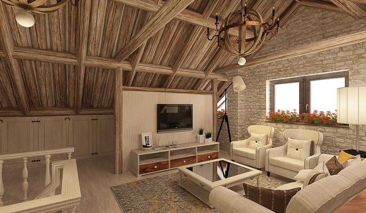 Комната для гостей на мансардном этаже скандинавского дома. Помещение чердачного типа под четким руководством дизайнера стало полноценной, функциональной и привлекательной гостиной.