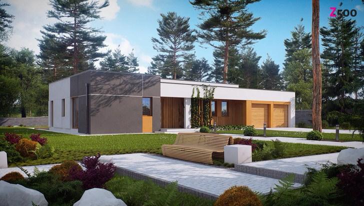 Одноэтажный загородный дом в стиле хай тек окружен соответствующим ландшафтным дизайном.