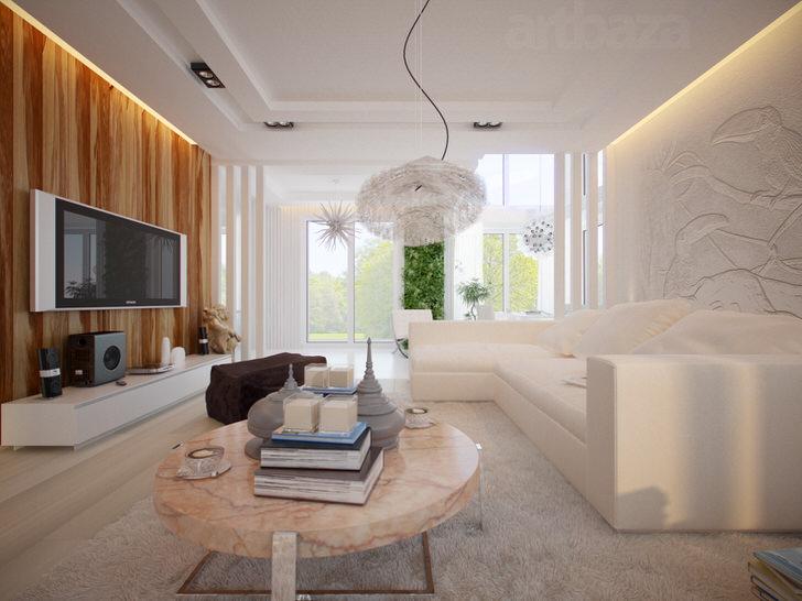 Современная гостиная в стиле минимализм.