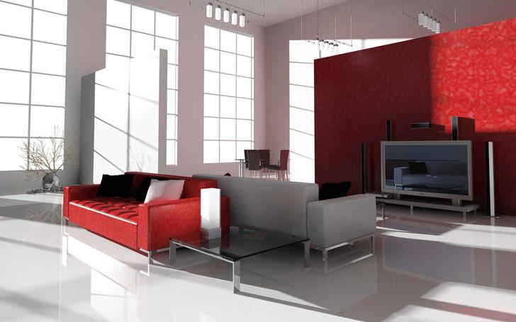 Контрастный алый цвет в стиле хай тек интересен и востребован. Ярко-красный диван на хромированных ножках идеален для оформления современного интерьера.