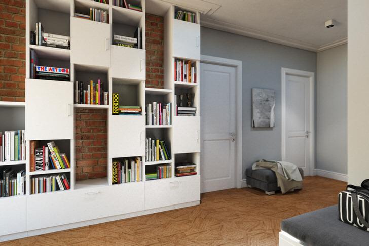 Функциональный лофт для оформления коридора. Дизайнерский проект разработан для московской квартиры известного художника.
