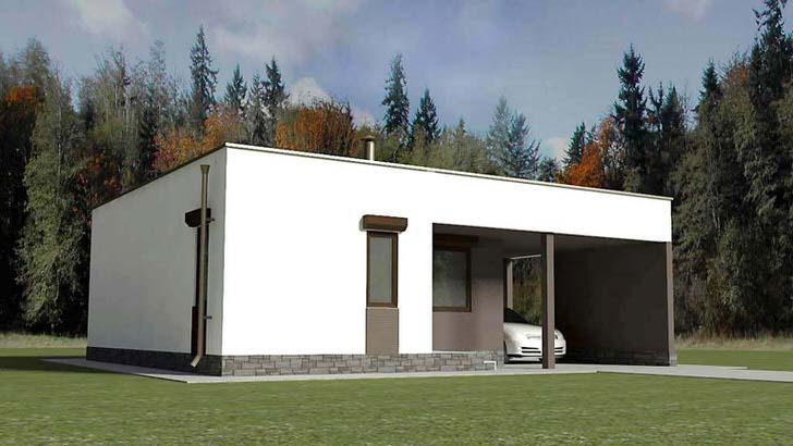 Одноэтажный дом в стиле хай-тек с небольшим навесом для машины - отличный и недорогой вариант загородной недвижимости.
