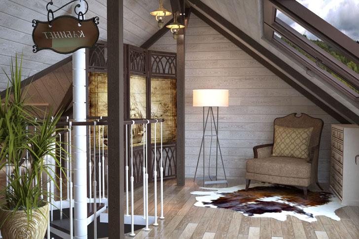 Шкура животного станет отличным элементом интерьера в стиле шале. Мансардный этаж с большими окнами идеален для чтения.