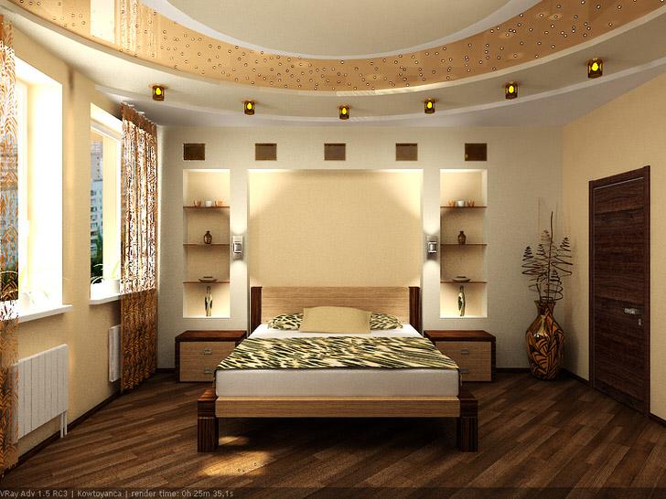 Интерьер спальни оформлен в стиле модерн. Межкомнатные двери органично вписываются в общую концепцию стиля.