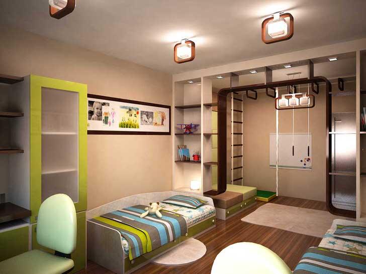 Использование нейтральных тонов может стать решением для организации интерьера комнаты брата и сестры. В комнате также предусмотрен угол для активного отдыха.