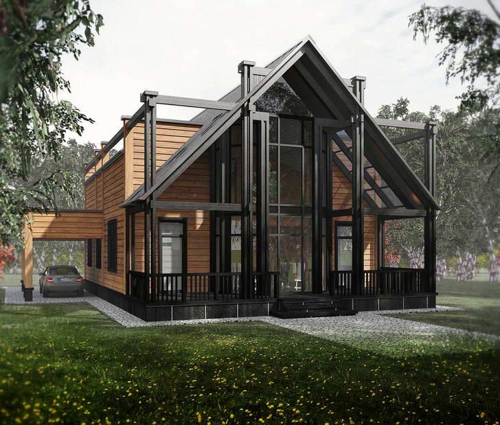 Модульный дом отделан деревом. Элегантное, изысканное оформление фасада делает здание привлекательным.