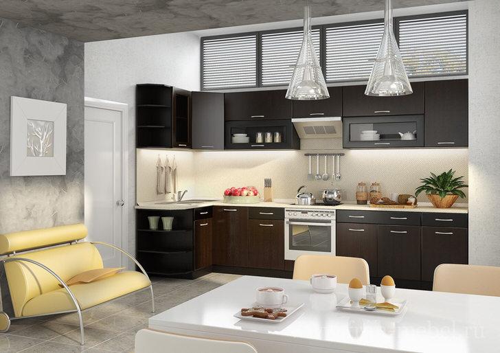 Модульная мебель для кухни в сочетании с встроенной техникой делает интерьер современным и гармоничным.
