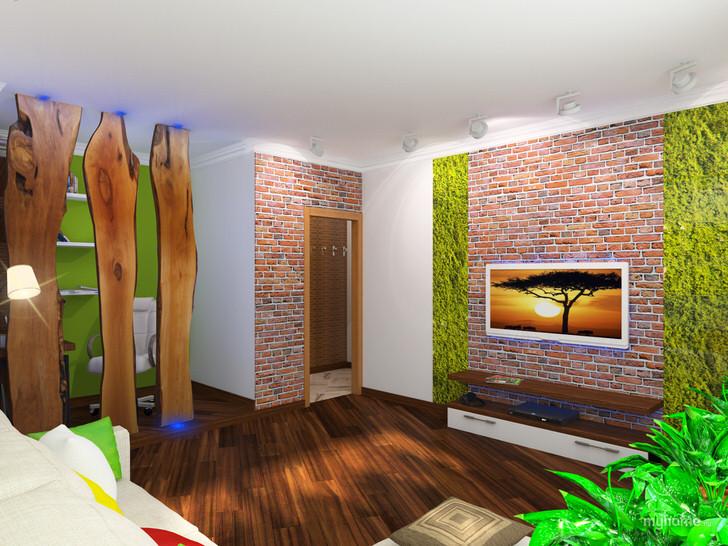 Кирпичная кладка выгодно сочетается с деревянной отделкой гостиной.