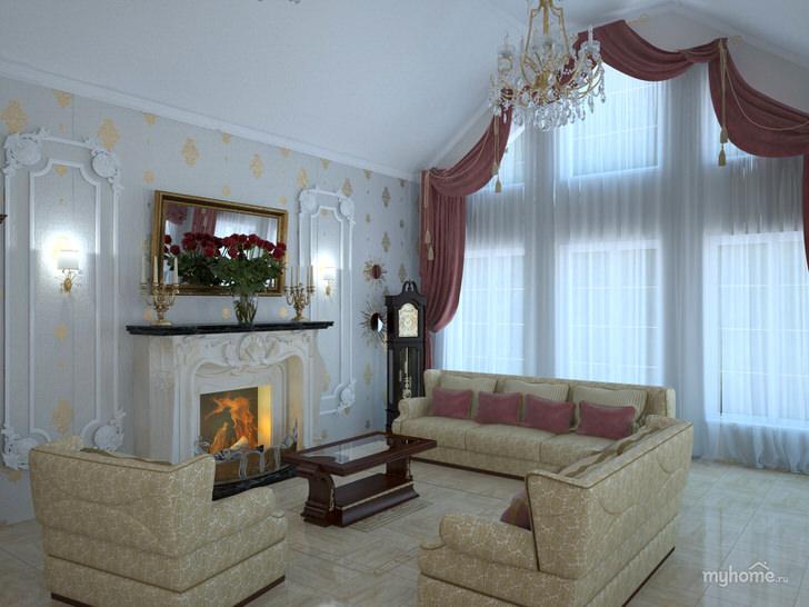 Гостевая комната в стиле арт деко на мансардном этаже. Дровяной камин в белоснежной панели с витиеватой лепниной выглядит привлекательно, делает атмосферу в комнате теплой и романтичной.