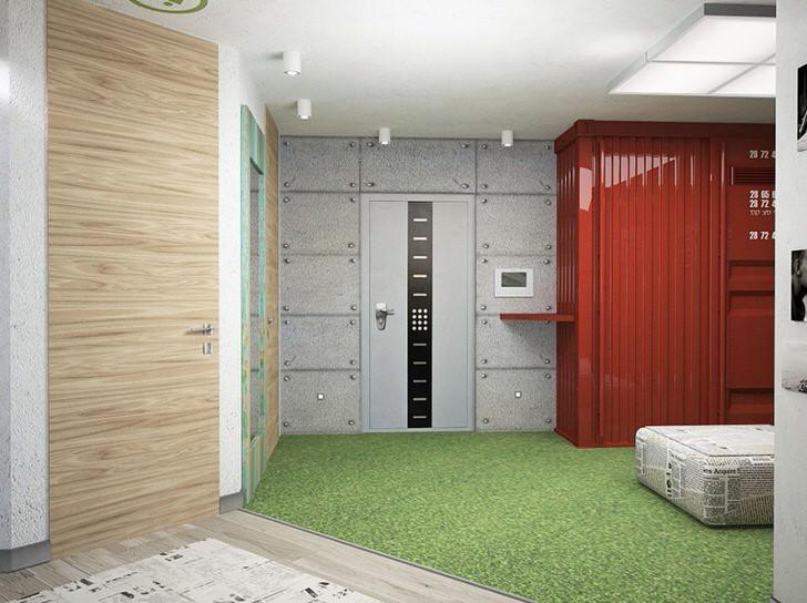 """""""Промышленный"""" лофт в прихожей выделяется отделкой стен, которая имитирует листы металла скрепленные между собой. Шкаф похож на большой металлический промышленный контейнер."""