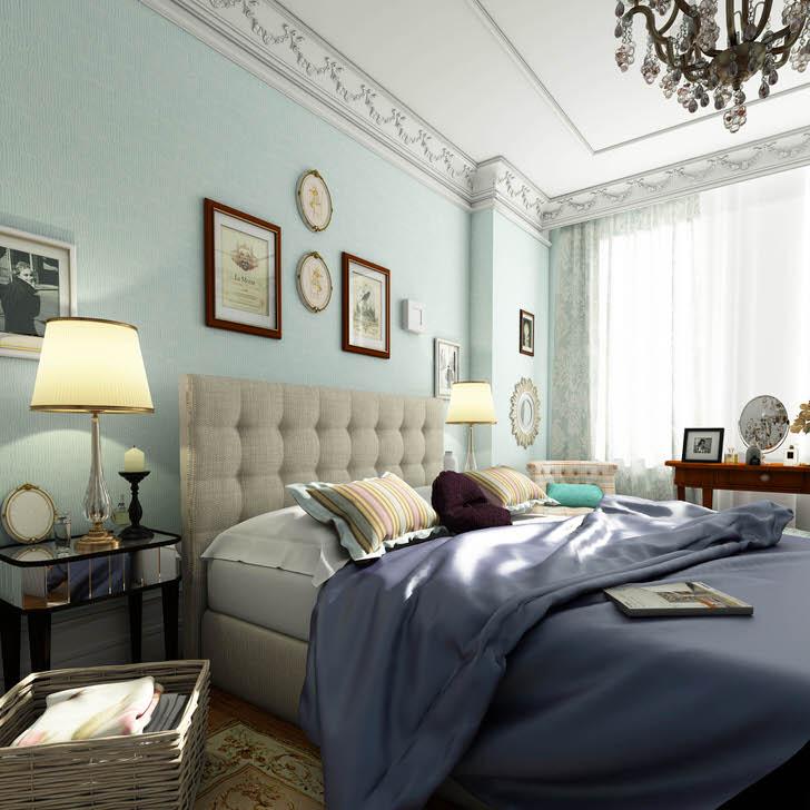 Спальная комната в английском стиле оформлена в нежно-голубых тонах. Пастельная цветовая гамма дает эффект визуального расширения пространства.