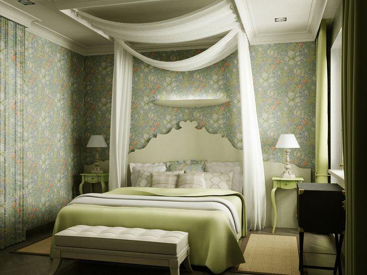 Примечательной особенностью оформления спальни стал балдахин из полупрозрачной ткани белого цвета над кроватью. Легкий, романтический дизайн идеально подходит для спальни молодой семейной пары.
