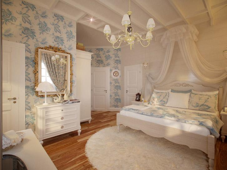 Стену в изголовье кровати можно украсить небольшим балдахином из полупрозрачной ткани.