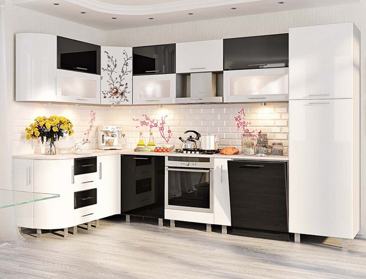 Глянцевые поверхности модульного кухонного гарнитура достаточно популярны среди современных хозяек. Креативным решением считается печать рисунка на определенных элементах меблировки.