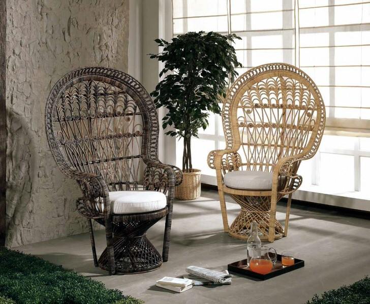 Плетеная мебель часто используется для оформления интерьеров в эко стиле.