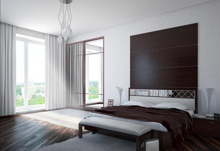Спальня в стиле минимализм с большим панорамным окном.