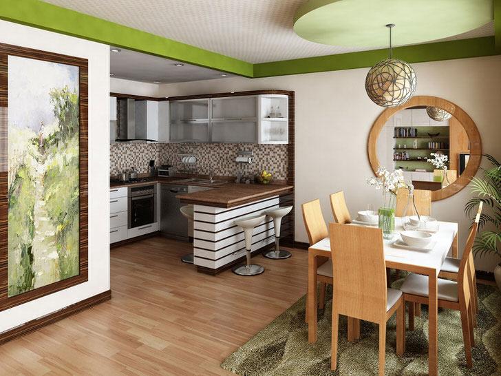 Небольшая кухня объединена с гостиной. Дизайнерское решение в данном случае является обоснованным, поскольку полезного пространства недостаточно для организации двух отдельных комнат.