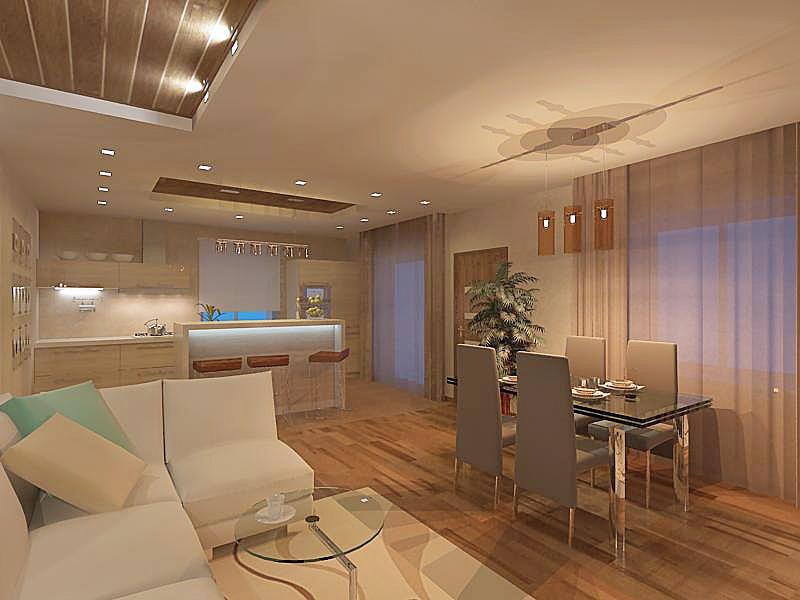 Гостиная в стиле минимализм объединена с кухней. Для стиля минимализм не свойственно применение потолочных люстр, лучший вариант - точечное светодиодное освещение.