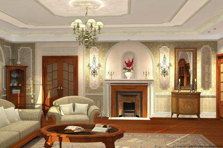 Удачный дизайнерский проект гостиной в французском стиле был создан для дома римского предпринимателя.