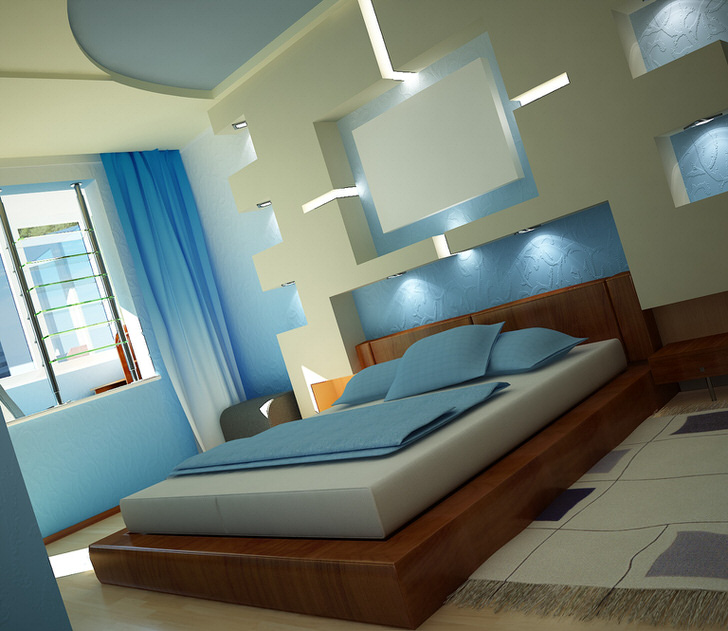 Бело-голубой интерьер спальни