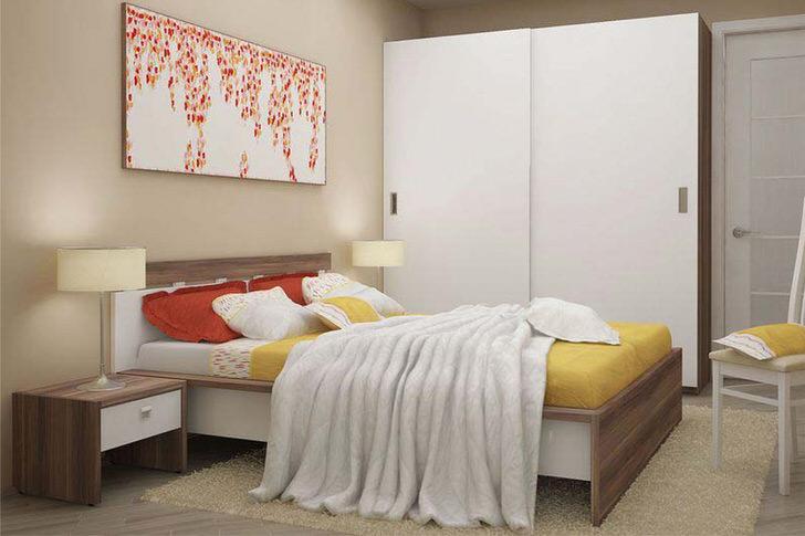 Лаконичная и функциональная модульная мебель - правильный выбор для малогабаритной спальни.