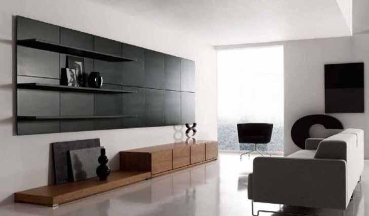 Стиль минимализм примечателен использованием практичных полочек для оформления гостиной.