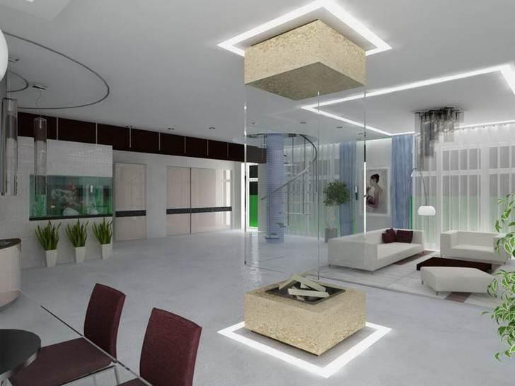 Просторная квартира-студия в стиле хай тек . Инновационное оформление камина довершает общую картину дизайнерского замысла.