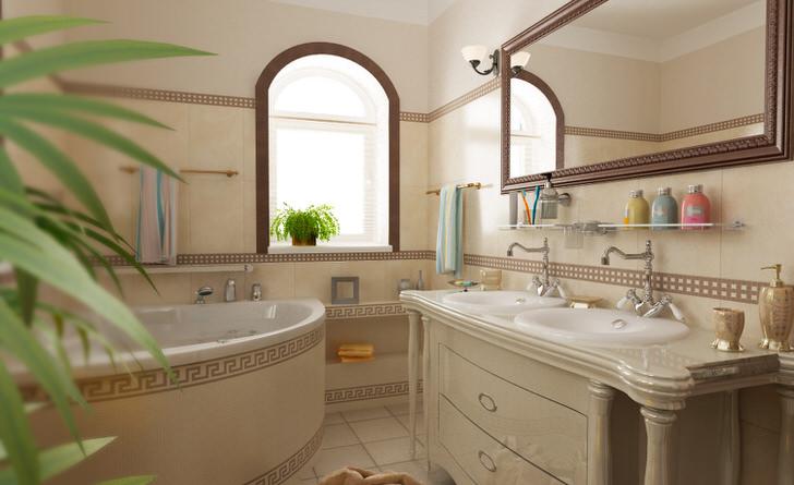 Ванная комната в средиземноморском стиле в загородном доме в Подмосковье.