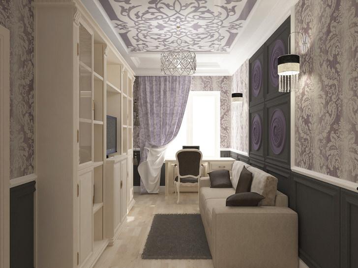 Пример оформления гостиной в стиле арт деко в малогабаритной квартире.