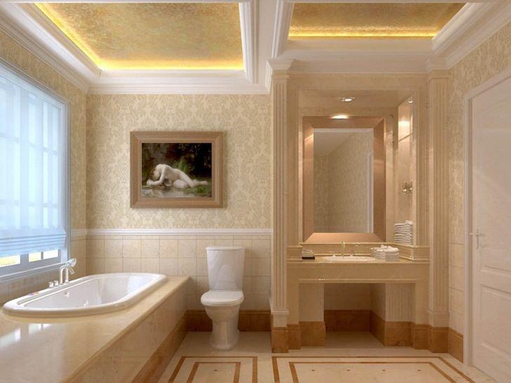 Лепнина из гипса является гармоничным элементом интерьера в стиле модерн. Двухъярусные потолки оснащены правильным освещением. Светодиодная лента, издающая теплый, желтый свет, делает атмосферу в ванной романтической.