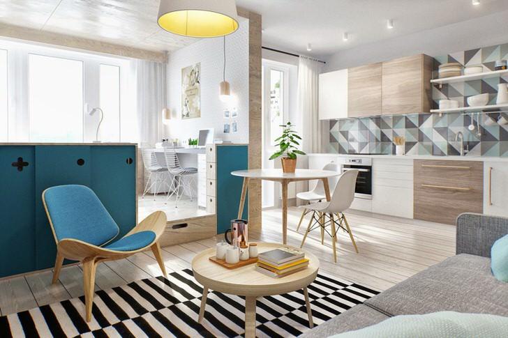 Интерьер малогабаритной квартиры-студии в скандинавском стиле. Минимум мебели, правильная отделка и освещение визуально увеличивают пространство.