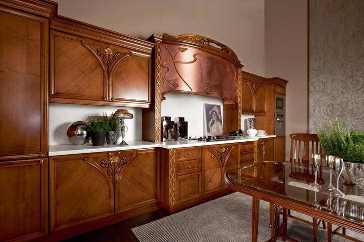 Роскошный пример кухонного гарнитура в стиле модерн. Мебель из натурального дерева делает интерьер привлекательным и изысканным.