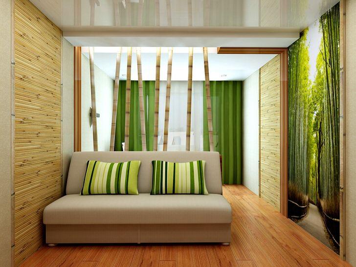 Перегородка из стеблей бамбука отлично сочетается с тематическими фотообоями.