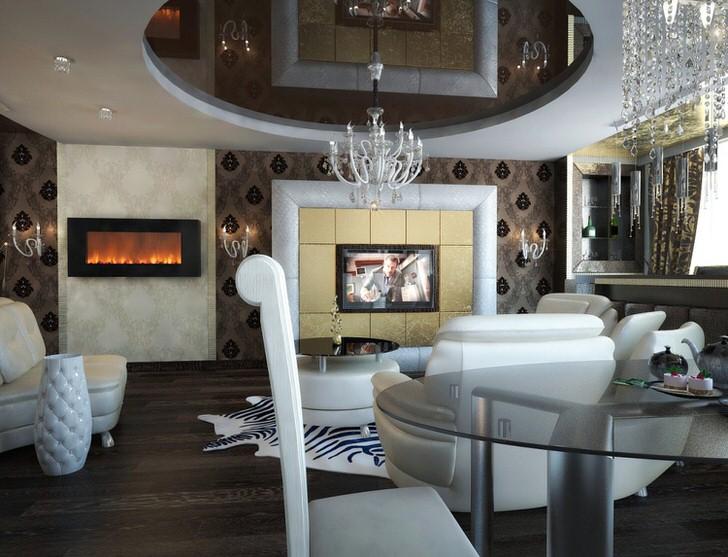 В качестве отделки стен в стиле арт деко используются панно . Телевизор и камин выделяются светлыми фрагментами обоев и плитки.