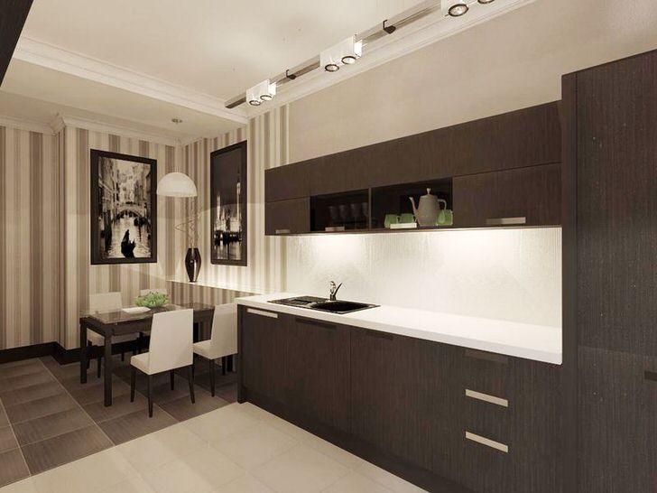 Небольшая кухня правильно оформлена с использованием гарнитура цвета венге. Минимум фурнитуры делает мебель стильно и современной.