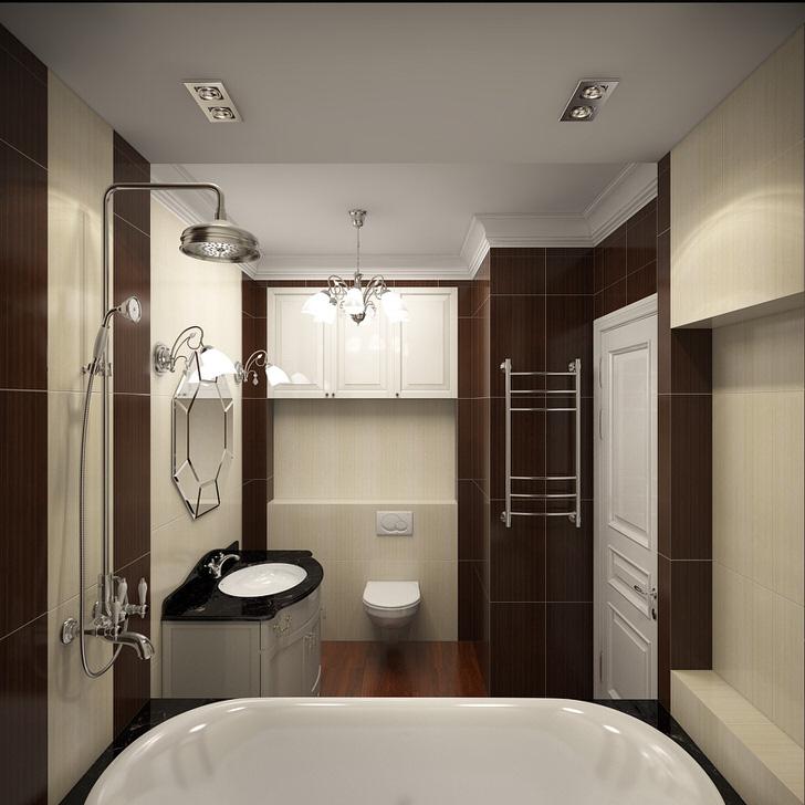 Стиль модерн проявляется использованием белой сантехники, которая эффектно выделяется на фоне черных элементов мебели.