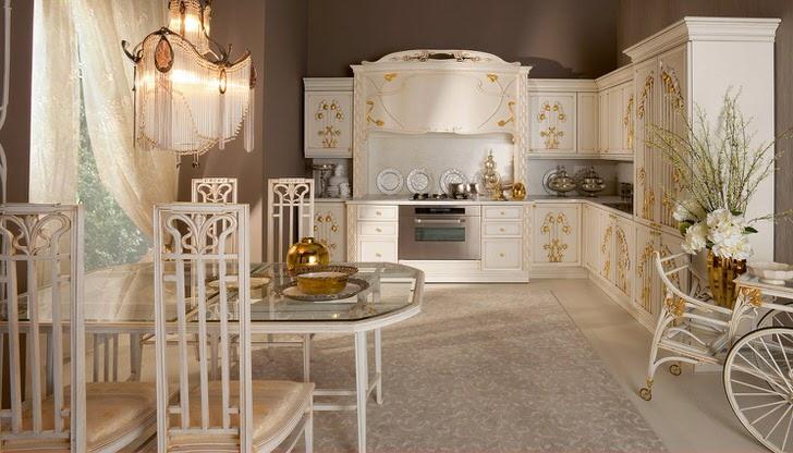 Примечательной деталью в оформлении кухни в стиле модерн стали золотые элементы декора. Мягкий, приглушенный свет делает обстановку по-семейному теплой.