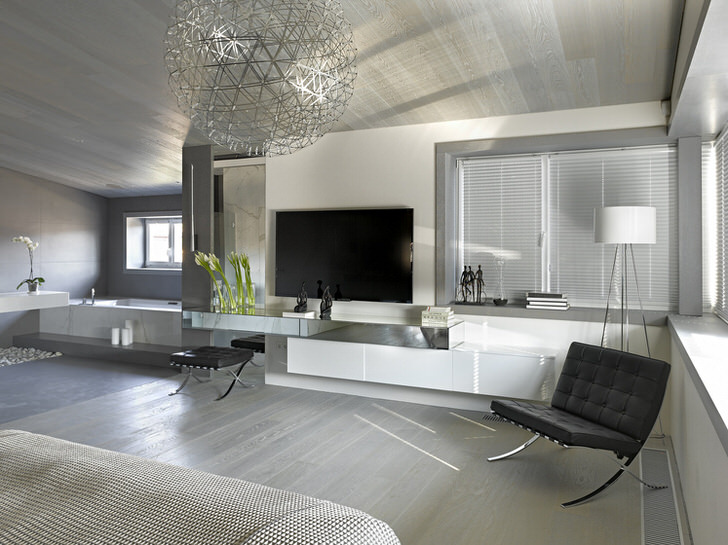Характерной особенностью минималистического стиля является использование однотонного материала для обивки мебели и метоллических хромированных элементов.