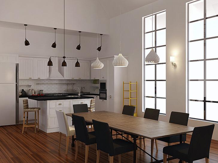 Пример удачно подобранного освещения для кухни в скандинавском стиле. Для освещения обеденной и рабочей зон используются разные модели потолочных люстр.