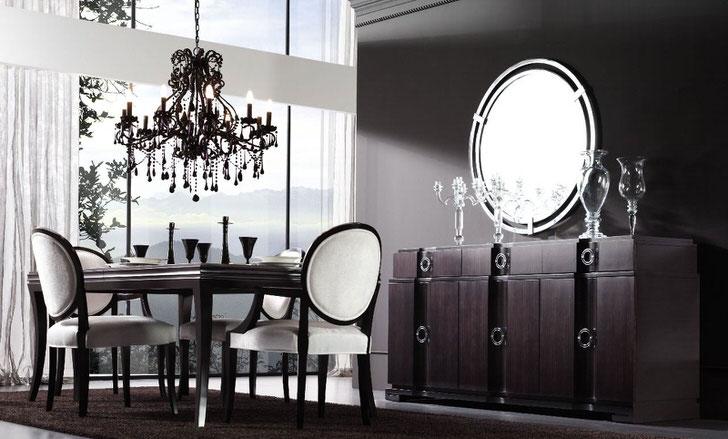 В оформлении обеденной комнаты в большей степени используются темные тона коричневого цвета. Стиль арт деко с ярко выраженными контрастами роскошен и элегантен.