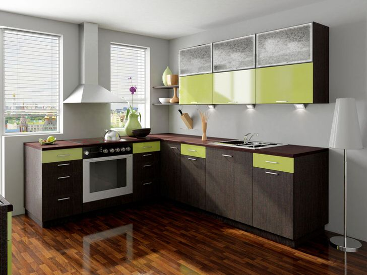 Цвет венге удачно сочетается с бледным зеленым цветом. Такая цветовая гармония удачно подходит для оформления кухни.